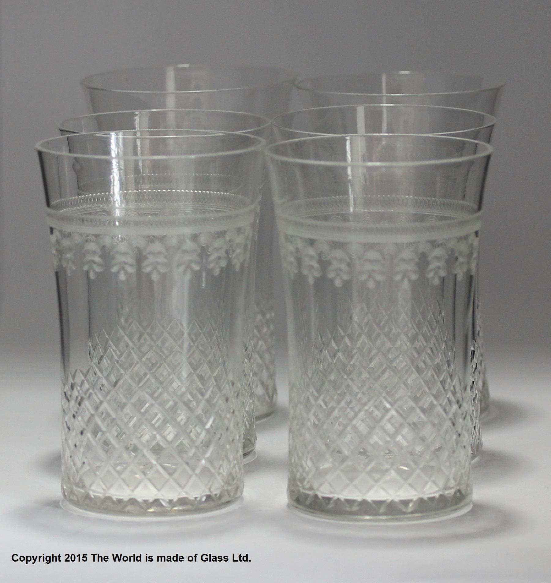2f26edb55d6 Matched set of six large water glasses, etched & cut